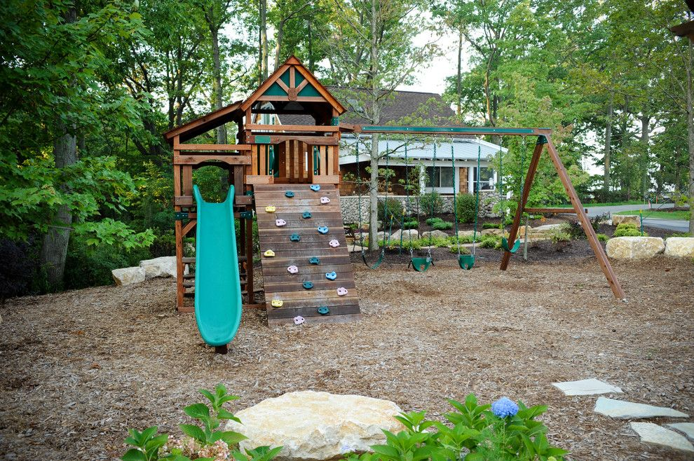A1 Mulch for a Eclectic Kids with a Lake House and Lakebridge Guest Cottage by Cottage Home, Inc.