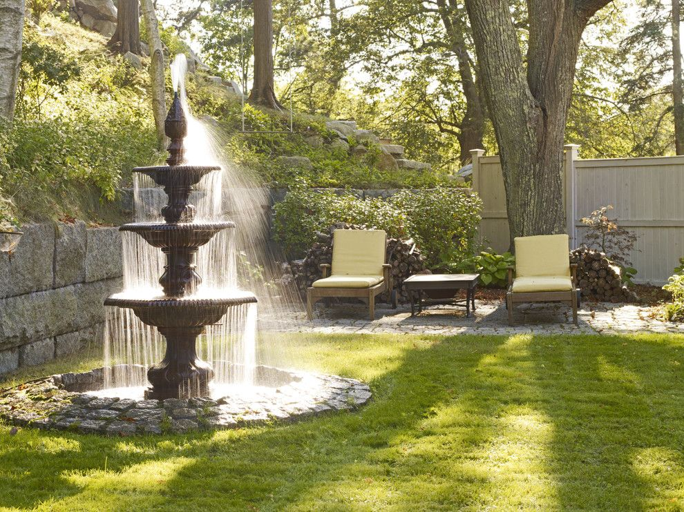 A1 Mulch for a Traditional Landscape with a Fountain and Traditional Landscape by Houzz.com