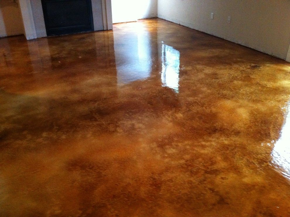 Acid Stained Concrete for a Contemporary Basement with a Concrete Resurfacing and Hagan Job by Custom Concrete Design