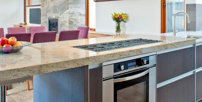 Acid Wash Concrete for a Contemporary Kitchen with a Upholstered Dining Chairs and Wembley by Victoria's Interiors