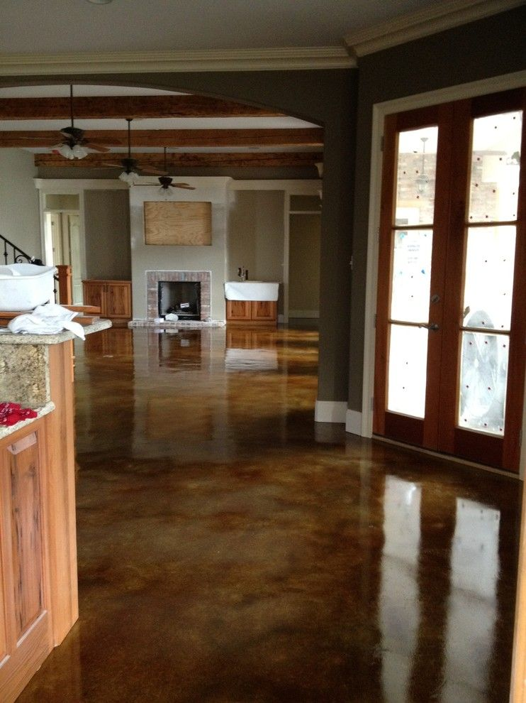 Acid Washed Concrete for a Traditional Kitchen with a Acid Stain Interior and Interior Acid Stained Flooring by Dan Lynch Concrete Floors