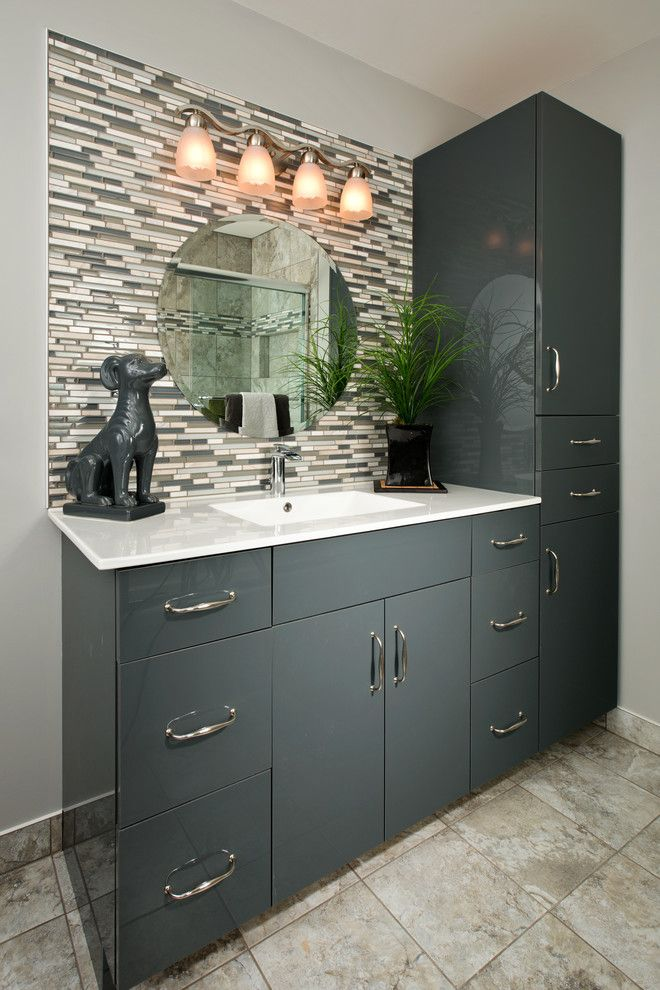 Acme Brick Colors for a Contemporary Bathroom with a Gray Vanity and Beautiful Baths by Kitchen and Bath World, Inc