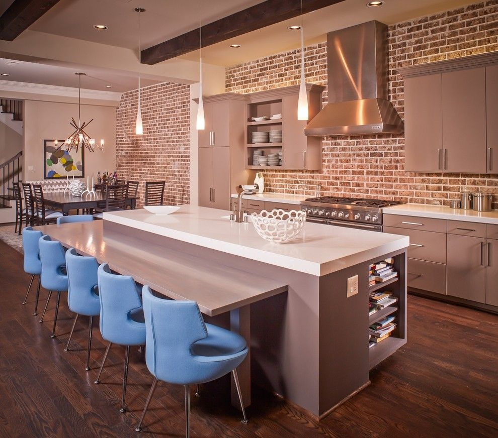 Acme Brick Colors for a Contemporary Kitchen with a Painted Cabinets and Domangue Residence by Jamestown Estate Homes