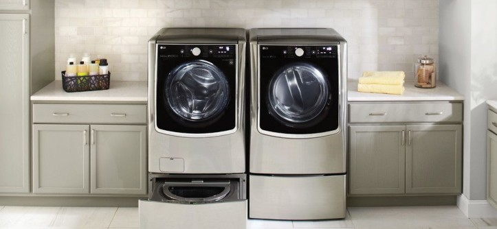 Acme Brick Colors for a Contemporary Laundry Room with a White Countertop and LG Electronics by LG Electronics