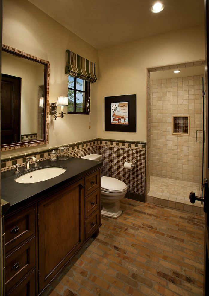 Ada Bathroom Layout for a Mediterranean Bathroom with a Striped Roman Shade and Dc Ranch Home #1 by La Casa Builders Inc.
