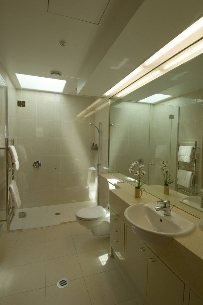 Ada Bathroom Layout for a Modern Bathroom with a Recessed Lighting and Penthouse Master Bath by Frederick Gibson + Associates Architecture