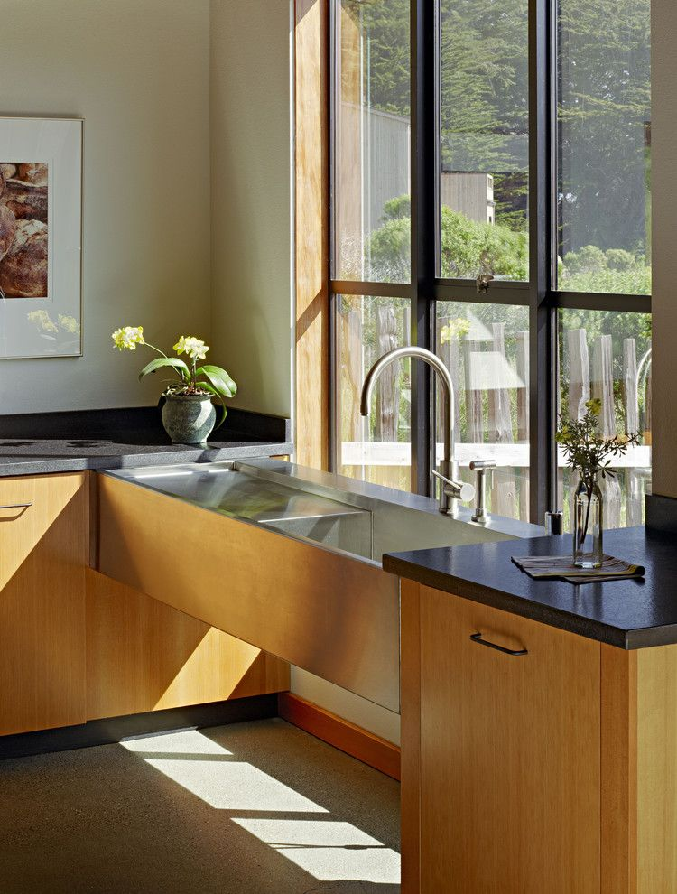 Ada Sink Height for a Contemporary Kitchen with a Kitchen Hardware and Stone by Malcolm Davis Architecture