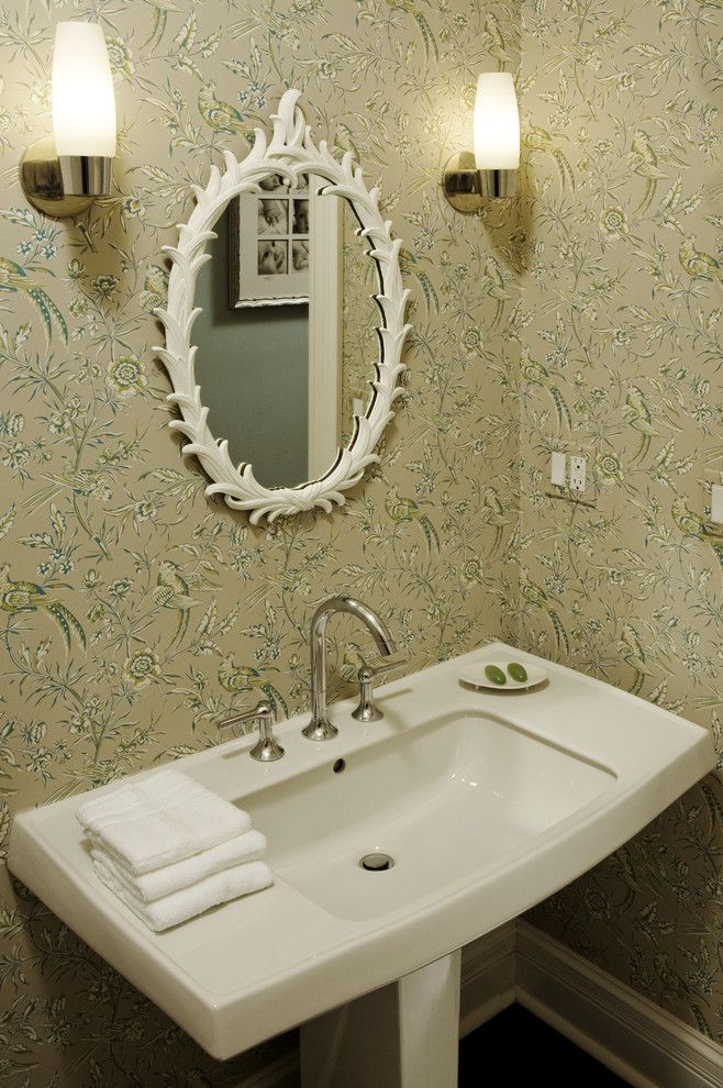 Ada Sink Height for a Contemporary Powder Room with a Pedestal Sink and Powder Room by Molly Mcginness Interior Design