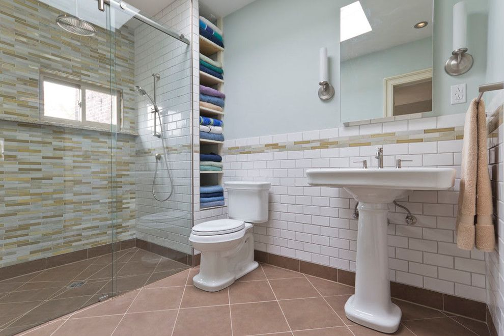 Ada Sink Height for a Traditional Bathroom with a Brown Tile Floor and Barrier Free Shower Stall by Spa Tile