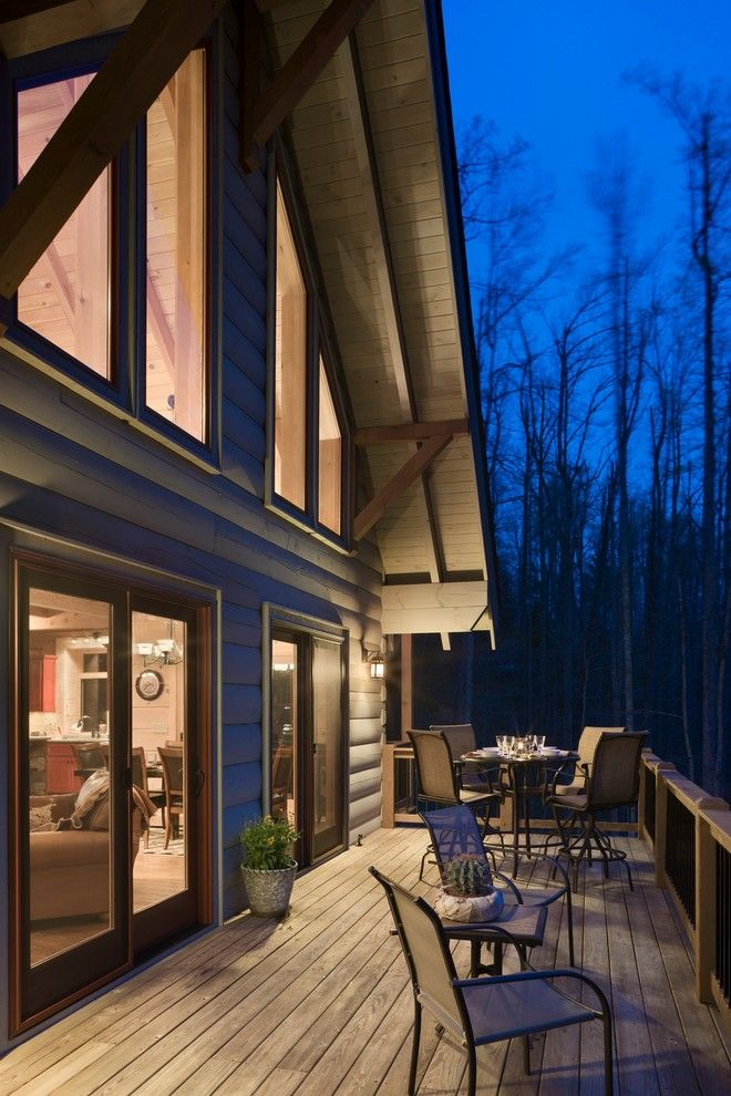 Adair Homes for a Rustic Deck with a Boone and Adair by Log Homes of America
