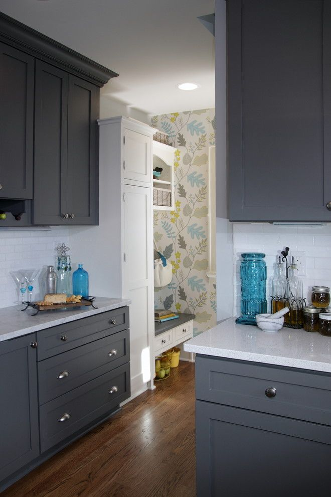 Adair Homes for a Transitional Kitchen with a Style and Kitchen Fun with Storm Gray by Dura Supreme Cabinetry