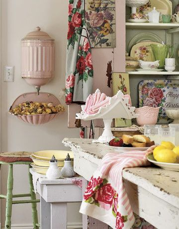 Agl Homes for a Shabby Chic Style Spaces with a Shabby Chic Style and Seasons for All at Home: Decorating a Cottage in Pink and Green by Rita May