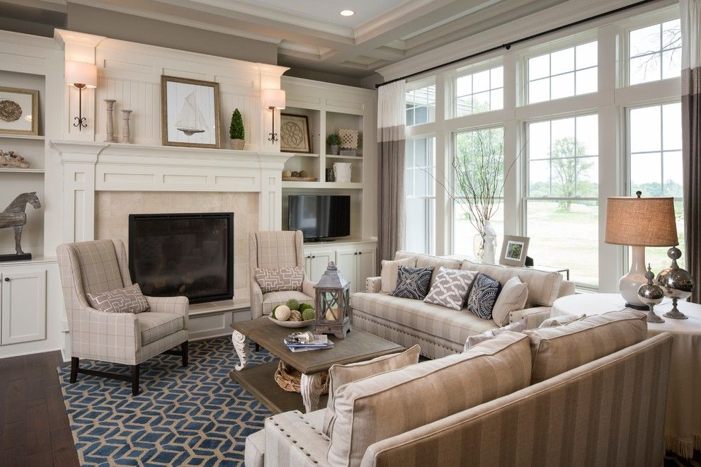 Agl Homes for a Traditional Living Room with a Coffered Ceiling and Brookside:  Eagles Nest by Everything Home