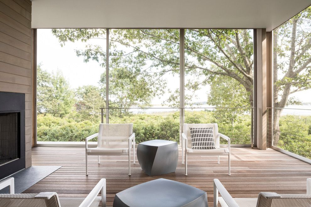 Ags Stainless for a Modern Porch with a Water View and AIA Maine 2014 Design Award by American Institute of Architects, Maine Chapter