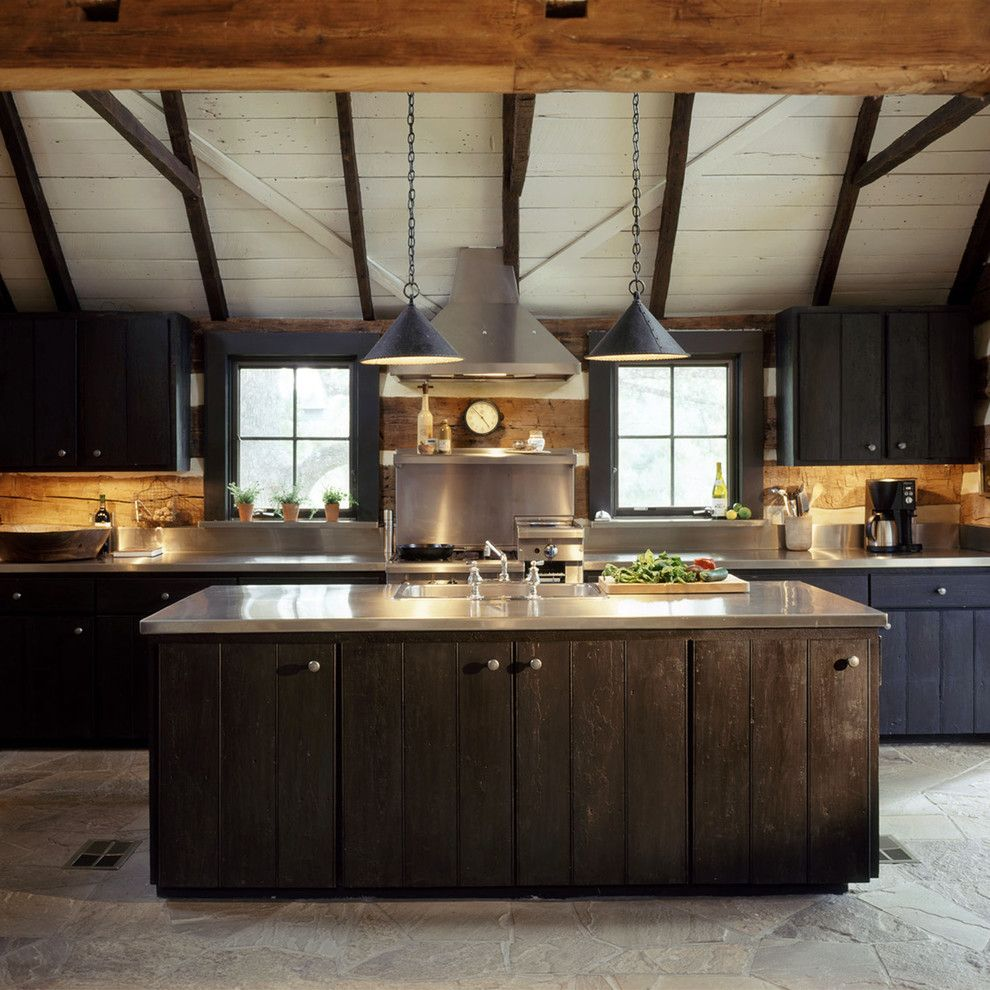 Ags Stainless for a Rustic Kitchen with a Mortise and Tenon Joints and Gathering Spaces by Chas Architects