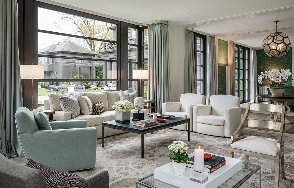 Aia Seattle for a Transitional Living Room with a Neutral and Blue Atlas by Stephen Sullivan Designs