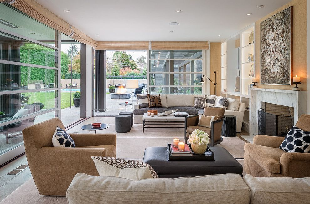 Aia Seattle for a Transitional Living Room with a Open to Backyard and Blue Atlas by Stephen Sullivan Designs