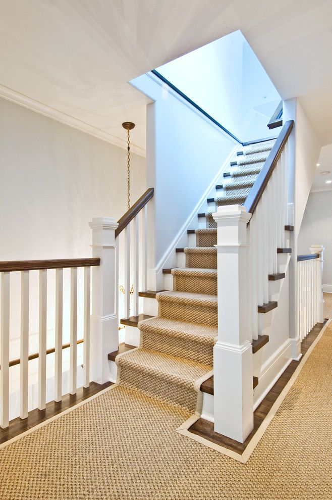 Airbase Carpet for a Traditional Staircase with a Carpet Border and Meeting House Lane by Benco Construction