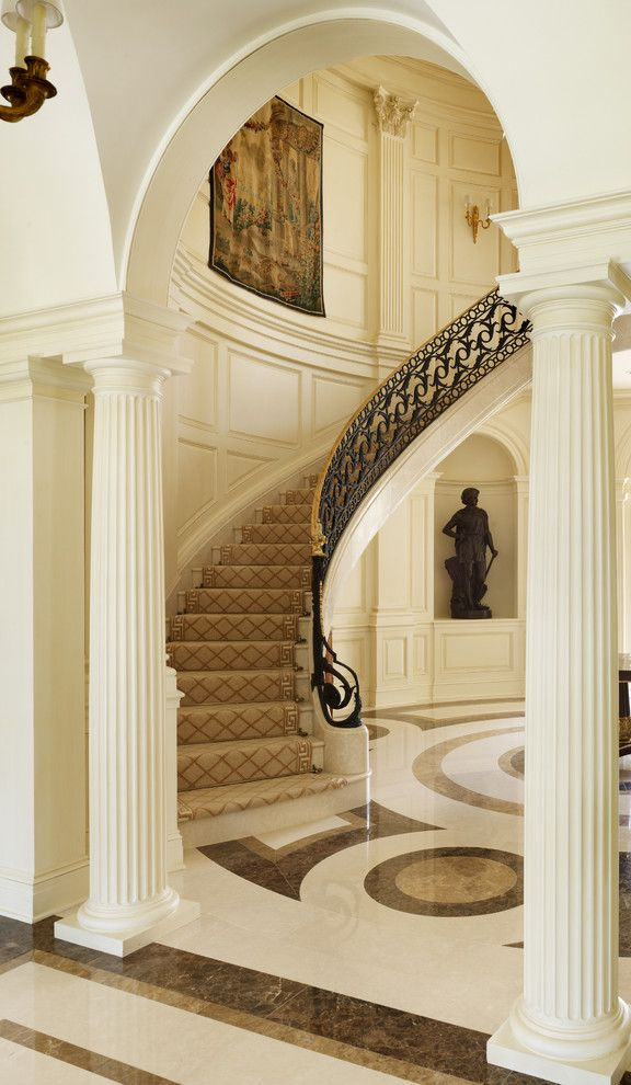 Airbase Carpet for a Traditional Staircase with a Curved Staircase and Traditional Staircase by Trapolinpeer.com
