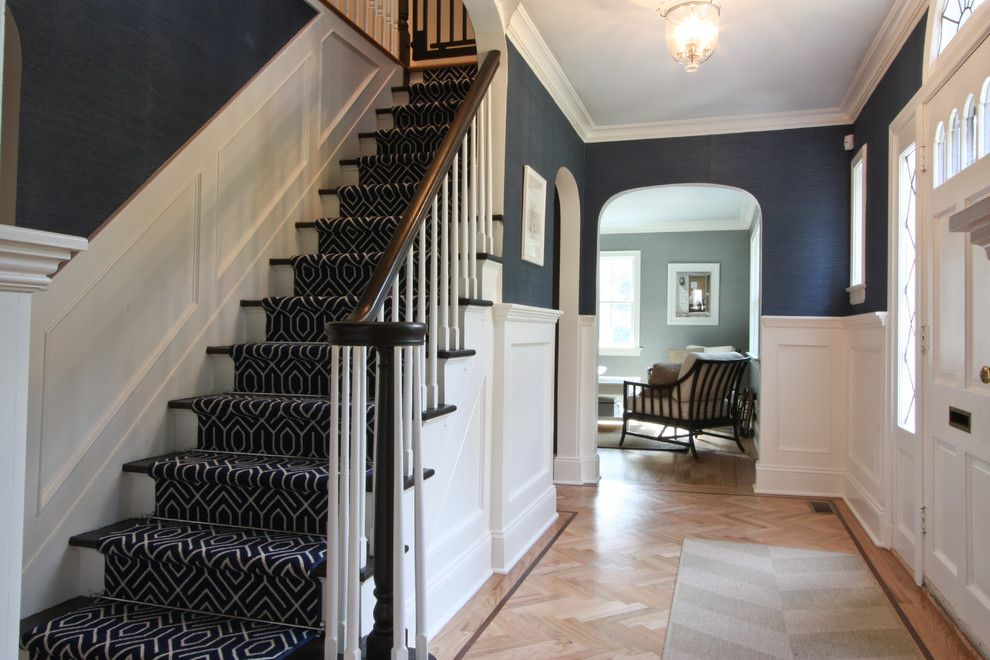 Airbase Carpet for a Traditional Staircase with a Grasscloth and Classic Coastal Colonial Foyer by Michael Robert Construction