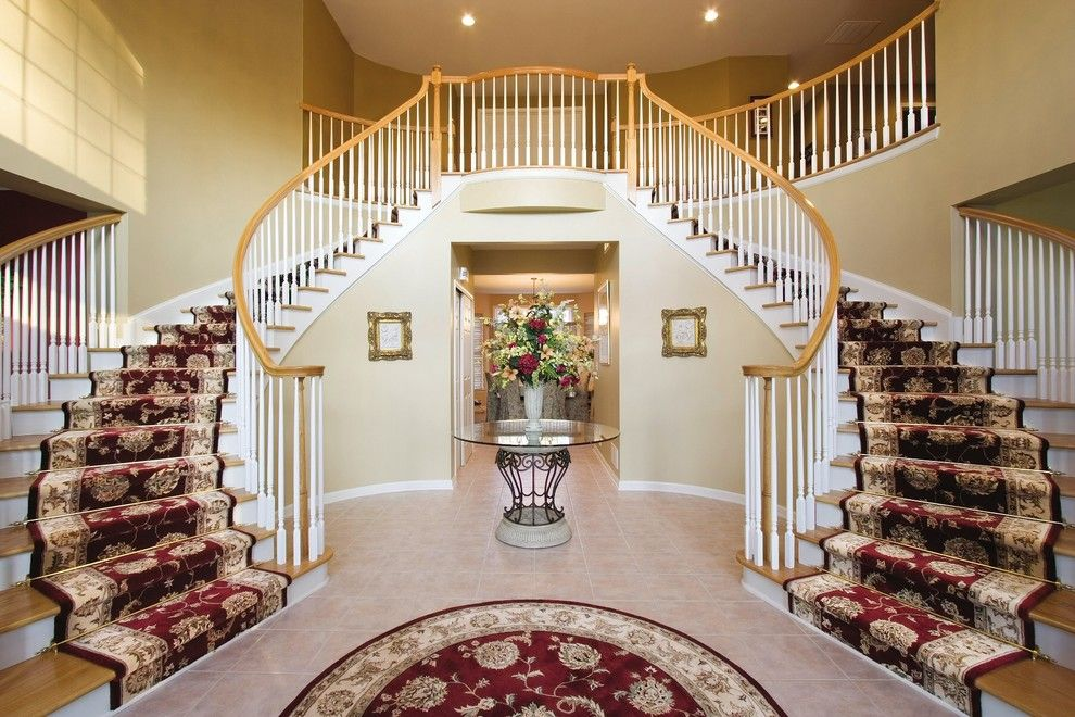 Airbase Carpet for a Traditional Staircase with a Round Rug and Staircases Featuring Runners and Zoroufy Stair Rods by Zoroufy