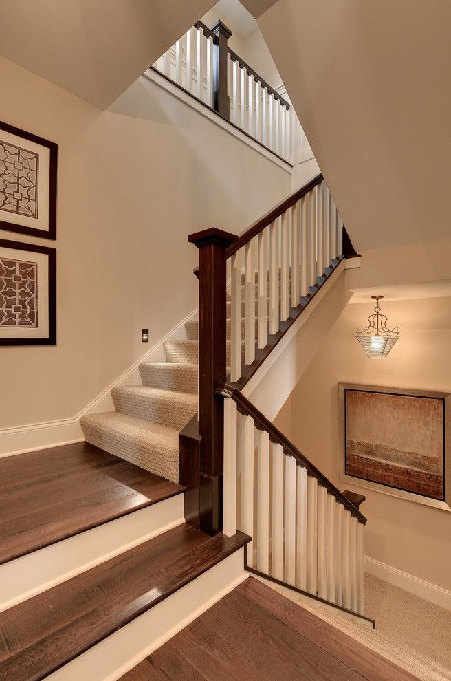Airbase Carpet for a Traditional Staircase with a White Banister and 2013 Luxury Home Inver Grove Heights by Highmark Builders