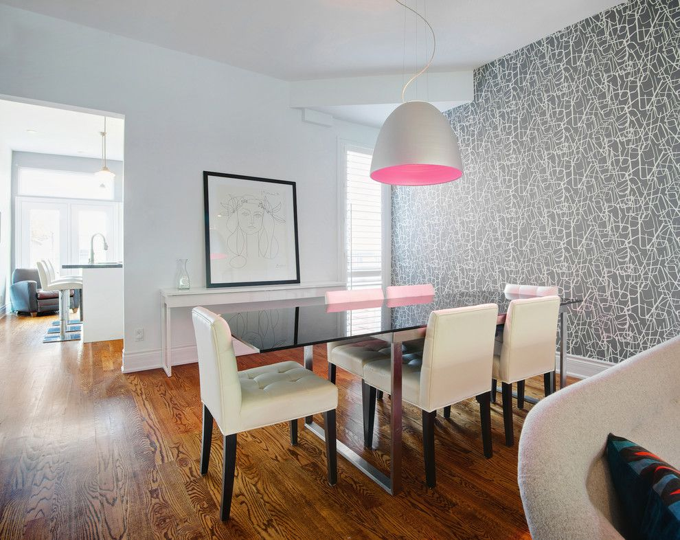 Airstream Renovation for a Contemporary Dining Room with a Pink Pendant and My Houzz: Modern Dundas West Townhouse Renovation by Andrew Snow Photography