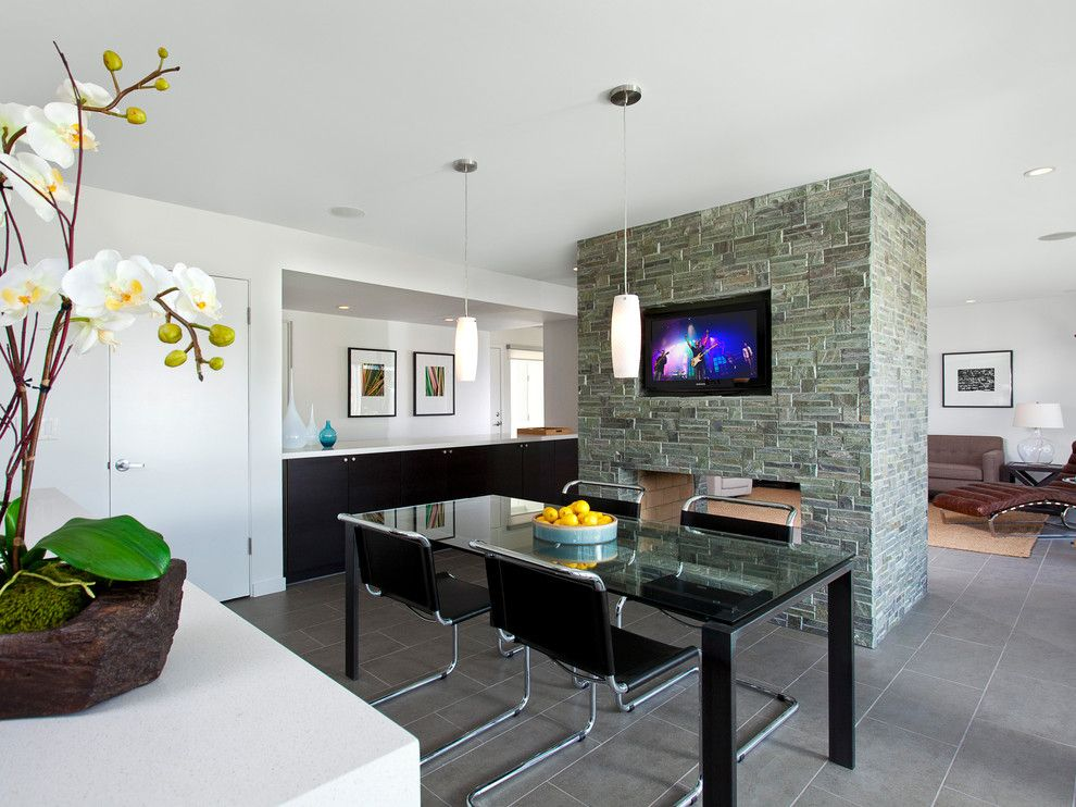 Akurum for a Contemporary Dining Room with a Porcelain Floor Tile and Los Pueblos Kitchen Design by Robert Frank Design