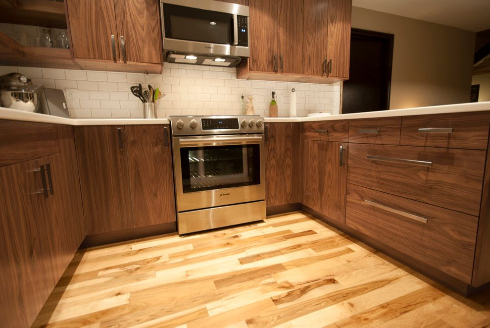 Akurum for a Modern Kitchen with a Cabinet Doors and Walnut Ikea Doors by Dendra Doors