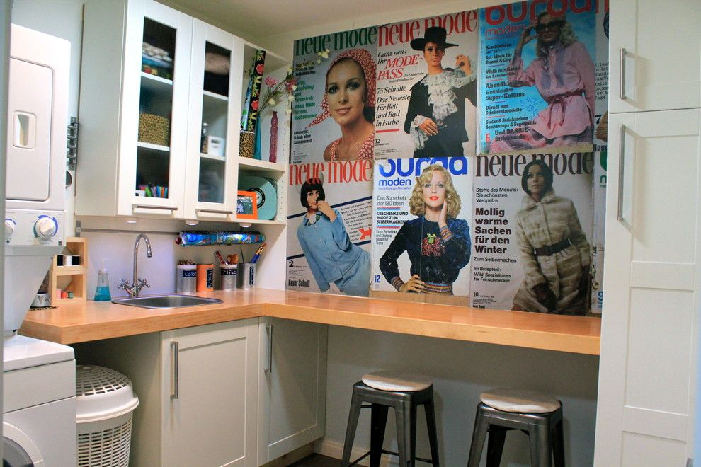 Akurum for a Modern Laundry Room with a Laundry Craft Homework and Laundry, Craft & Homework Room with Ikea Cabinets by Modernshelterblog