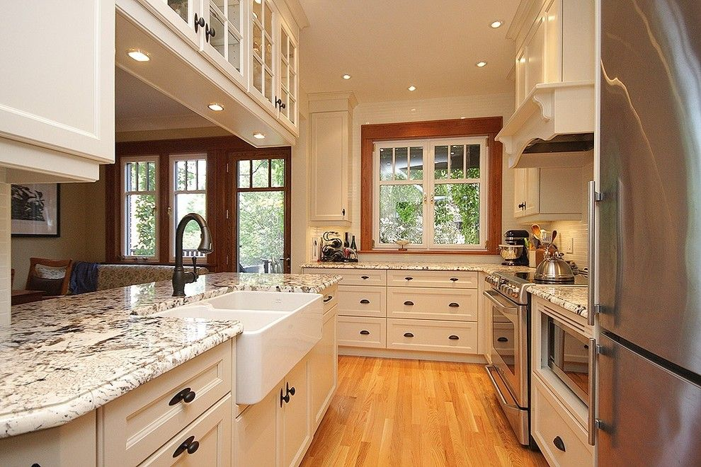 Alaska White Granite for a Transitional Kitchen with a Tilco Windows and Completed Work by Menage by Menage Interiors