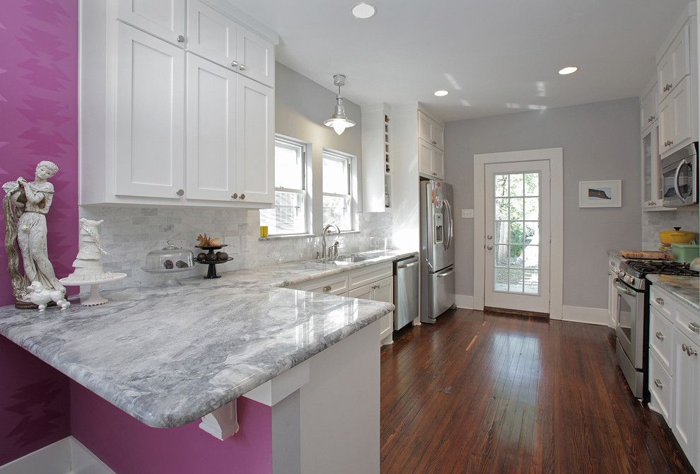 Alaskan White Granite for a Eclectic Kitchen with a Purple and My Houzz: Colorful Hand Painting Bedecks a Creative Home by Lindsay Von Hagel