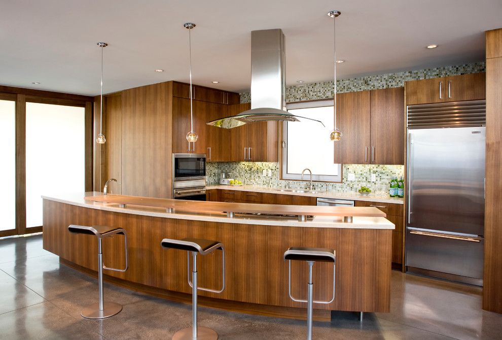 Albert Lee Appliance for a Modern Kitchen with a Curved Island and Rogers Sturz Residence by Michael Lee Architects