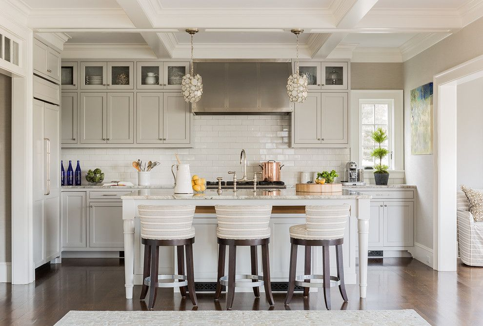Albert Lee Appliance for a Transitional Kitchen with a Striped Bar Stools and Private Residence   Marblehead, Ma by Julia Cutler Interior Design