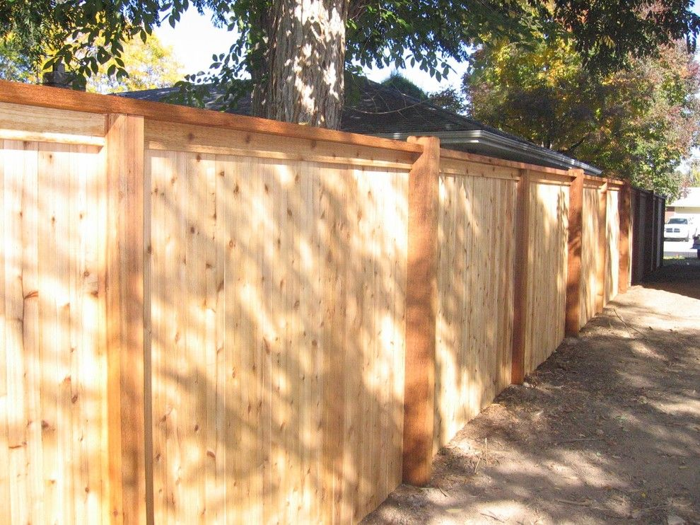 Alpine Fence for a Traditional Landscape with a Cedar Fence and Flat Top W/ Exposed Posts by Alpine Fence of Colorado, Llc