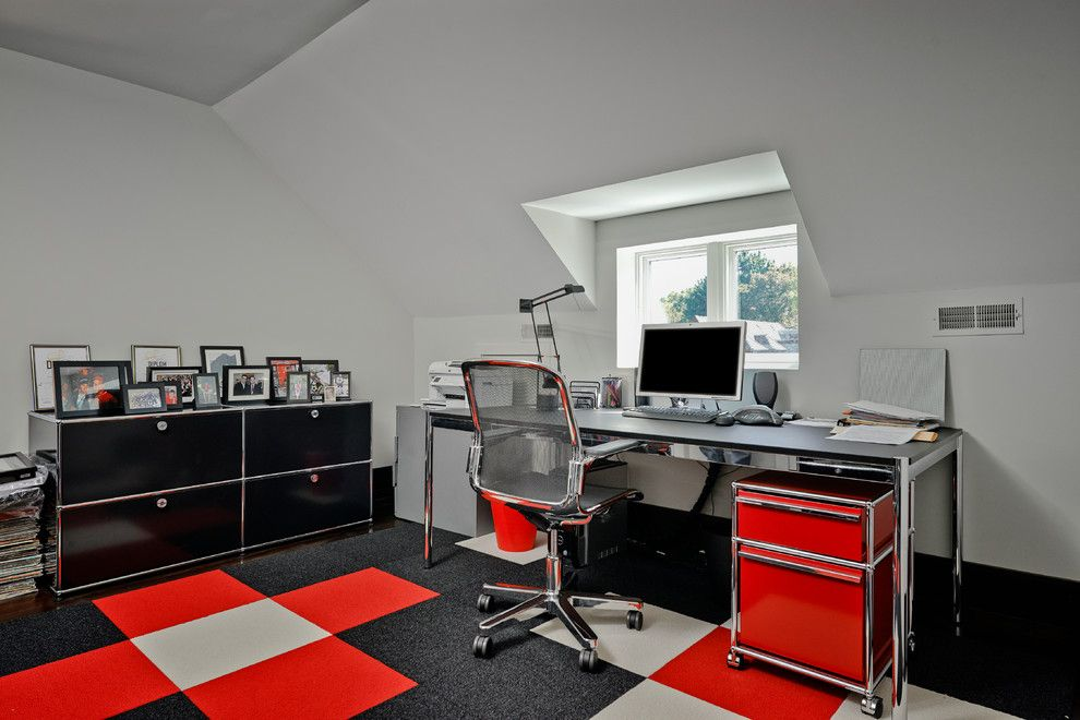 Altius for a Contemporary Home Office with a Red Carpet and Binscarth House by Altius Architecture, Inc.