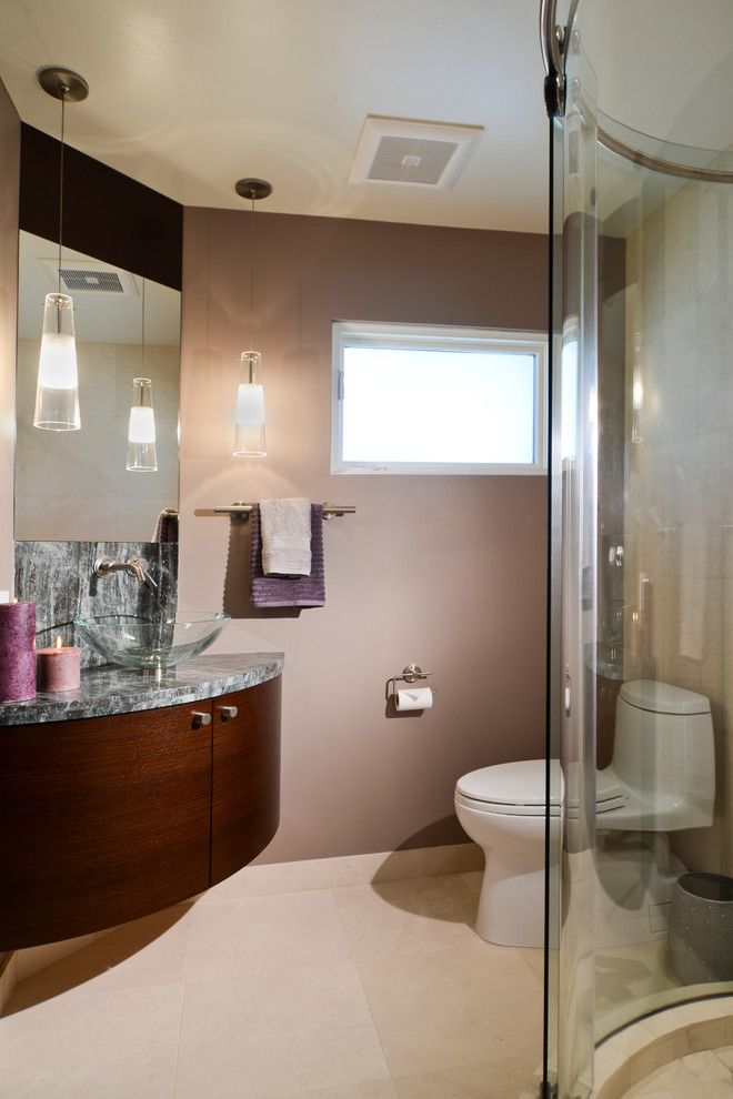 Alumax for a Contemporary Bathroom with a Round Shower and Los Altos Remodel by Precision Home Builders Inc.