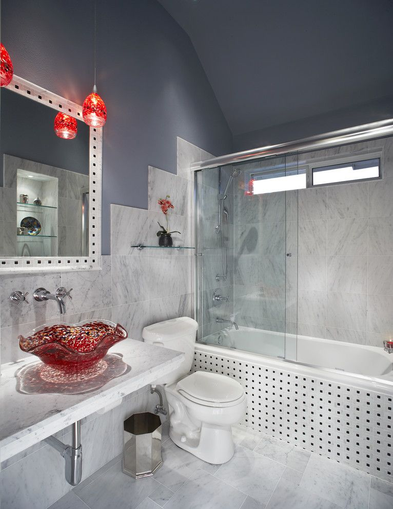Alumax for a Eclectic Bathroom with a Vessel Sink and Small Bath Remodel by Usi Design & Remodeling