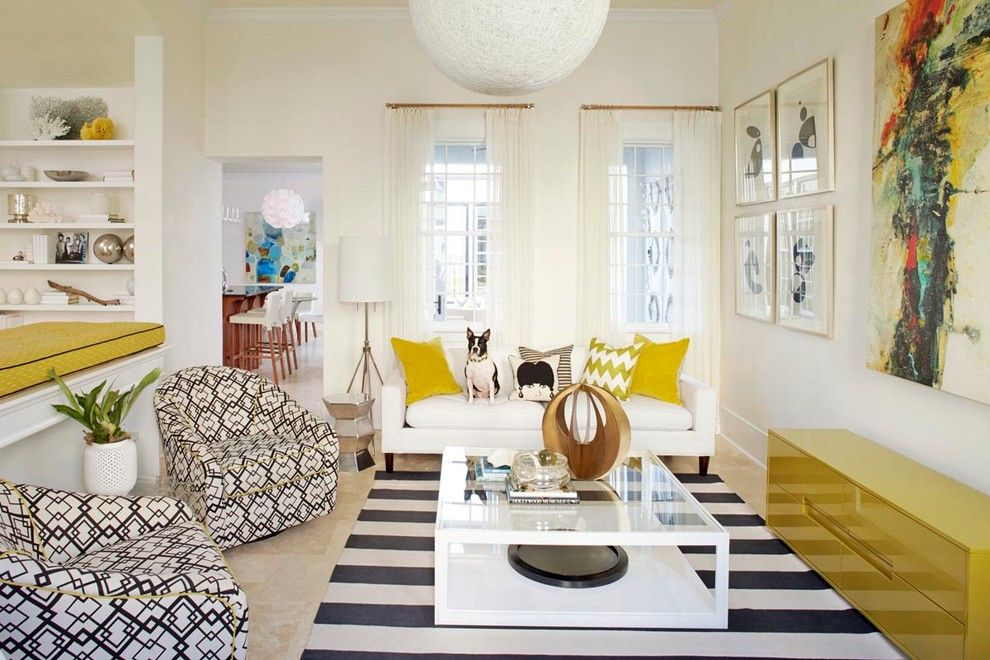 Alys Beach for a Beach Style Living Room with a Yellow Cabinet and Retro Beach House in Alys Beach, Florida by Musso Design Group