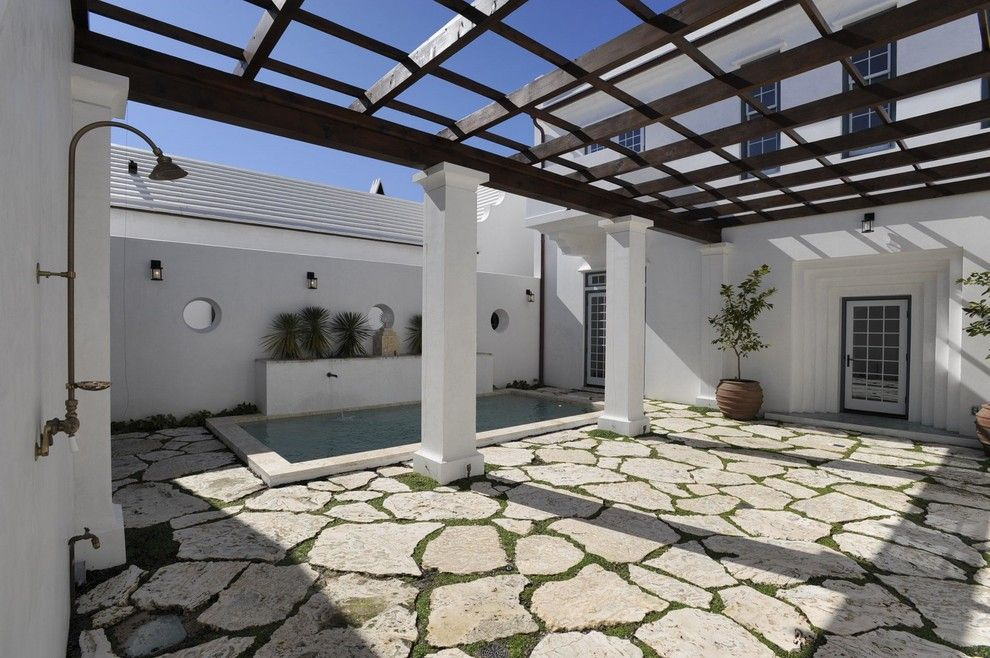 Alys Beach for a Contemporary Patio with a Pool Fountain and Alys Beach by Troy Rhone Garden Design