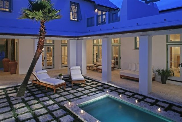 Alys Beach for a Tropical Exterior with a Tropical and Alys Beach Courtyard by Gary Justiss Architect