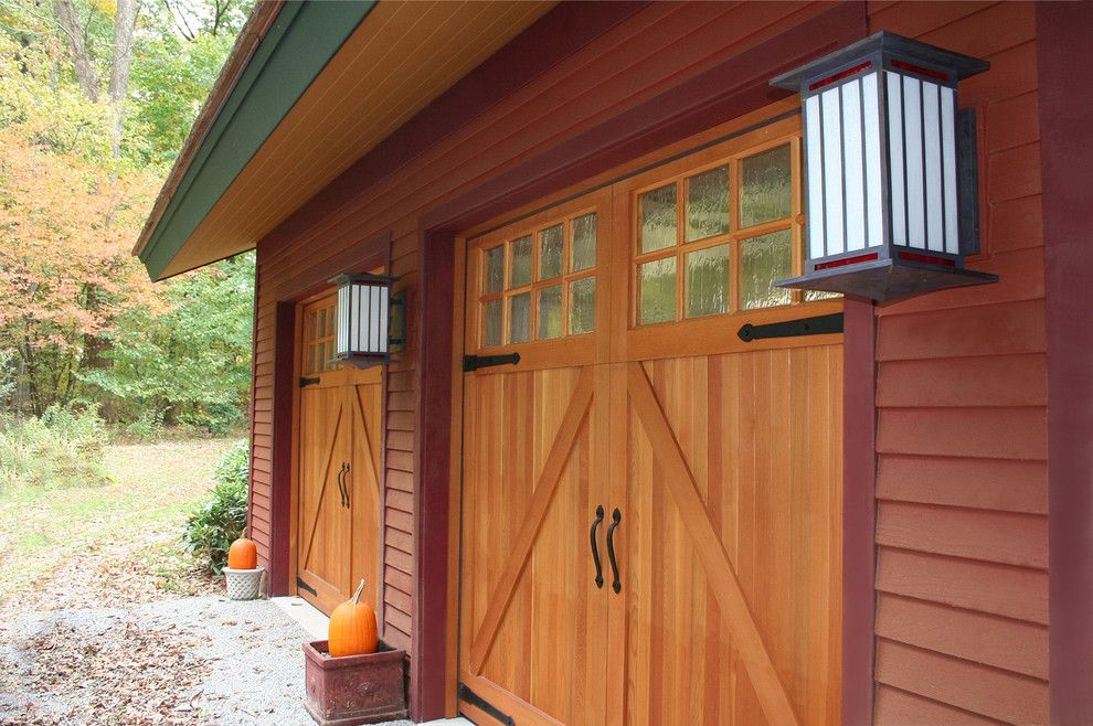 Amarr Garage Doors for a Contemporary Garage with a Red Trim and Edgewood by John Gehri Zerrer