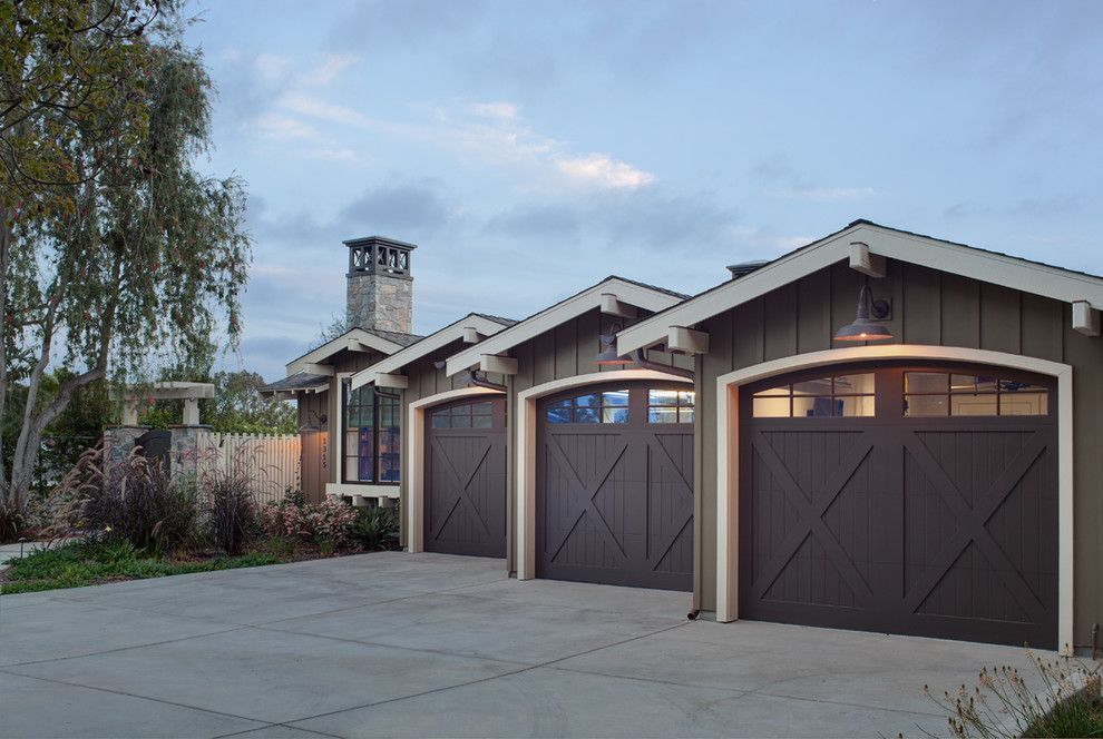 Amarr Garage Doors for a Farmhouse Garage with a Wood Garage Doors and Coastal Ranch by Anne Sneed Architectural Interiors
