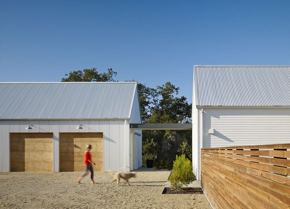 Amarr Garage Doors for a Farmhouse Shed with a Garage and Healdsburg Residence by Nick Noyes Architecture