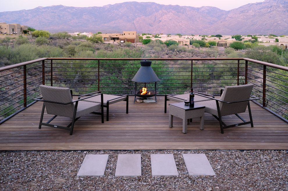 Ambiente Furniture for a Contemporary Deck with a Elevated Deck and Deck Over the Desert by Prideaux Design