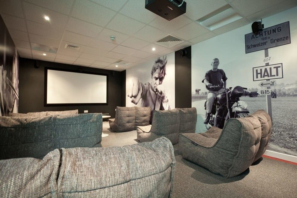 Ambiente Furniture for a Contemporary Home Theater with a University Furniture and College Green University Cinema Room (Bristol, Uk) by Ambient Lounge