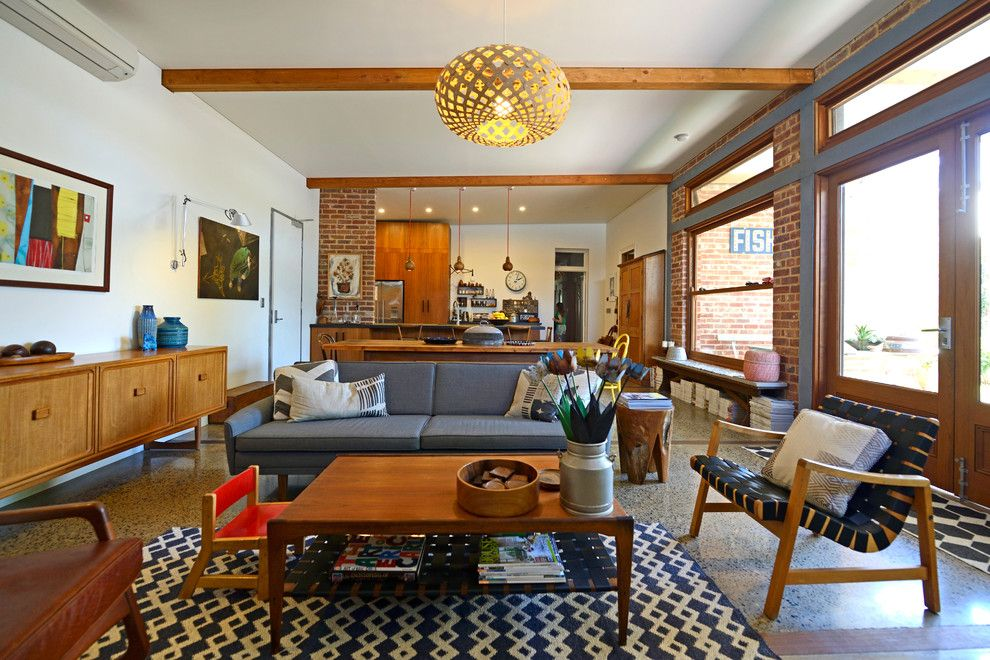 Ambiente Furniture for a Midcentury Living Room with a Patterned Rug and My Houzz: Connecting Work and Play in South Australia by Jeni Lee