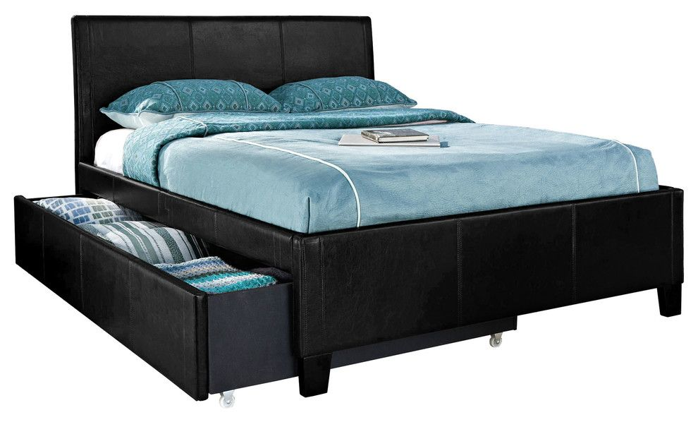 American Freight Furniture and Mattress for a Contemporary Spaces with a Bonded Leather and New York Black Trundle Bed by American Freight Furniture and Mattress