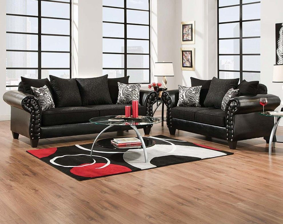 American Freight Furniture and Mattress for a Eclectic Living Room with a Studs and Highclere Onyx Sofa & Loveseat by American Freight Furniture and Mattress