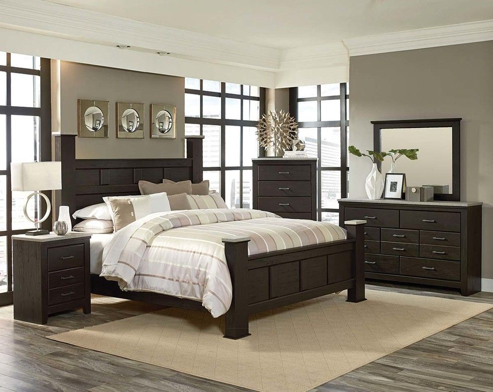 American Freight Furniture and Mattress for a Traditional Spaces with a Bedroom Suite and Stonehill Dark Bedroom Set by American Freight Furniture and Mattress